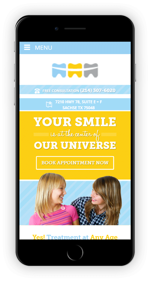 Orthodontist website on mobile phone