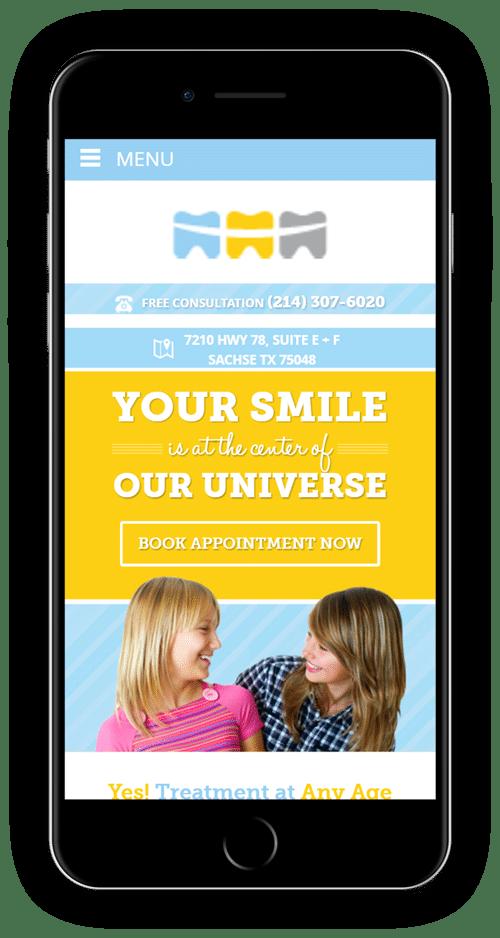 Orthodontist website on mobile phone
