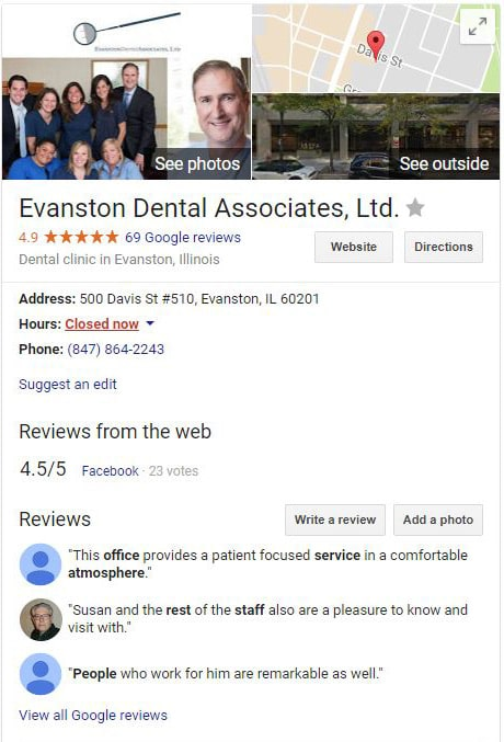 Google My Business listing Evanston Dental Associates