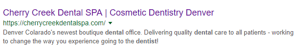 Dentist meta description