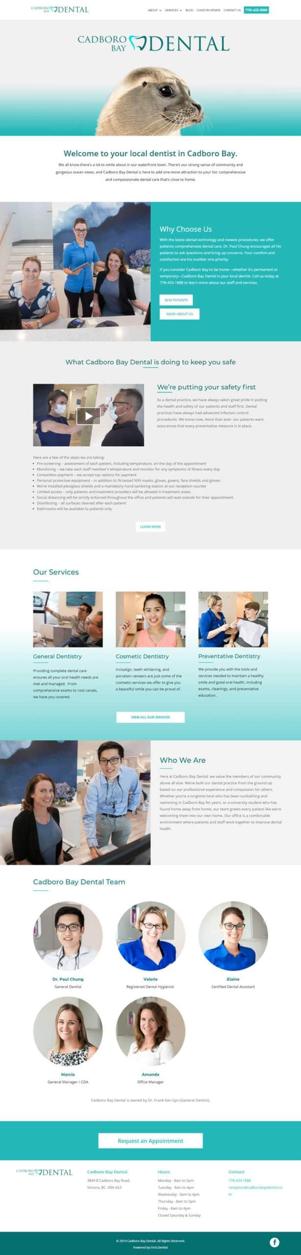 cadboro bay dental website homepage